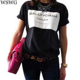 8d5188b3c Al por mayor-Europa nueva moda mujeres camiseta de la venta caliente  Ballinciaga camisetas camisa de la letra primavera verano Tee Tops para mujer  ropa ...