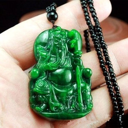 Wholesale Jade Carving Amulet - Wholesales beautiful hand carved Chinese Green Jade Pendant - Buddha Lucky Amulet Necklace gift