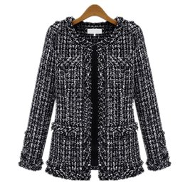 Wholesale Women Short Wool Jacket - Wholesale- 2016 autumn and winter European Short Design Jacket Slim thin black white Plaid wool coat large size female Women Outwear Z2328