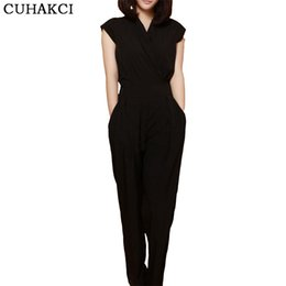 Wholesale Trousers For Womens - Wholesale- New Arrivals Casual Fashion V Neck Sexy Summer Rompers Womens Jumpsuit for Woman Black Blue Clothing Long Trousers Jumpsuit S151