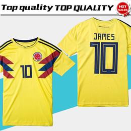 Uniformes amarelos on-line-2018 copa do mundo Colômbia futebol Jersey Colômbia Casa camisa de futebol amarelo 2018 copa do mundo # 10 JAMES Thai Football uniform