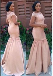 Wholesale Off Shouder - 2017Evening gowns Lace Applique off shouder Short Sleeves Mermaid pink Guest Dress Back Zipper Sweep Train Custom Made Party Gowns