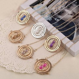 Wholesale Hourglass Necklaces - Wholesale- 10 pieces lot Time Turner Necklace Rotating Spins Gold Hourglass Sand Necklaces Women Men Silver Gold Link Chain