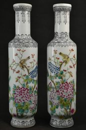 Wholesale Porcelain Home - Chinese Porcelain Hand-Painted flowers Old Porcelain Drawing Flower & Look At Each Other Bird Rare Lucky Pair Vase