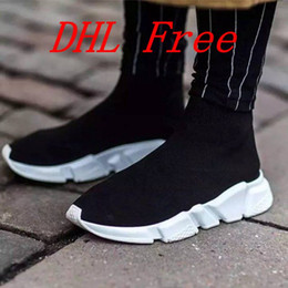 Wholesale Court Box - DHL Free Original quality+With box zoom slip-on Speed Trainer low Mercurial XI Black High help Socks shoes Casual shoes men and women