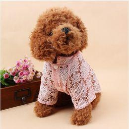 Wholesale Wholesale Summer Dog Clothes - Dog dog clothes pet dog spring and summer thin clothes print plain weaving hollow bottoming shirt pet clothes