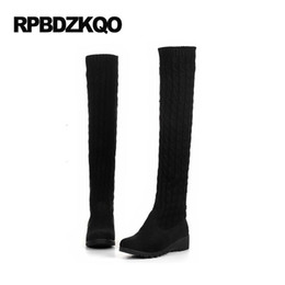Wholesale Cheap Long Leather Boots - Knee High Slim Winter Over The Womens Boots 2017 Round Toe Block Cheap Sock Black Platform Stretch Chunky Sexy Long Shoes Knit