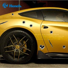 Wholesale Car Bullet Holes - 2016 Car Styling 3D Fake Bullet Hole Gun Shots Funny Car Helmet Stickers Decals Emblem Symbol Creative personalized Stickers