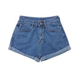 Wholesale Women Stylish Jeans - Wholesale- Stylish Retro Women Girls Slim High Waist Curling Denim Jeans Shorts Pants S-4XL 2 Colors