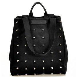 Wholesale Punk Shoulder Bags - Wholesale-Fashion Unique Punk Rivet Canvas Women Top-Handle Bags Girl Handbags Tote Bags Ladies Shoulder Bag Black Shopper Bag Bolsas