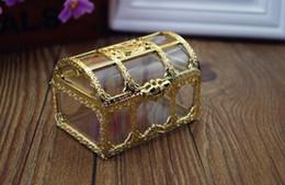Wholesale Wedding Box Big Size - 30Pcs Big Size Luxury Golden Transparent Plastic Wedding Gift Box Top Grade Candy Box Pary Favor 2017