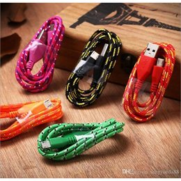 Wholesale Colourful Mobiles - Colourful Micro V8 Android Universal USB Cable 1m 2m 3m Nylon Braided Data Cable Mobile Phone USB Power Charging Cable Wholesale 1m 2m 3m