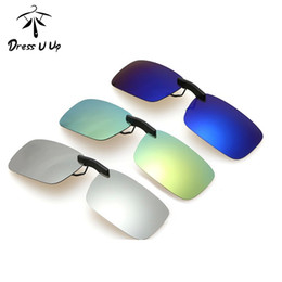 Wholesale Clip Sunglasses Mirror - Wholesale- DRESSUUP New Square Mirrored Polarized Sunglasses Clip For Women Men Coating Myopia Clip on Sunglasses UV400 Long Clip