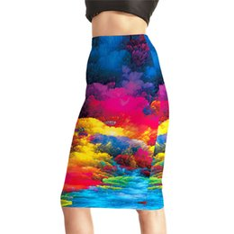 Wholesale Rivers Fashion - Womens High Waist Digital Print Pencil Skirts Female Fashion Summer Colorful River Slim Sexy Package Hip Skirts 4XL