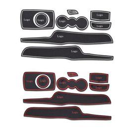 Wholesale Car Cup Holder Door - 8Pcs Lot 3D Rubber Car Door Groove Mat Cup Holder Floor Mat For Ford Fiesta