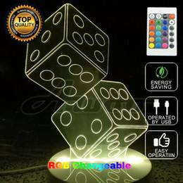 Wholesale Usb Dice - illusion Nightlight Table USB Color Change Mood Lamp 3D Remote Control Casino Dice Light Desk Bedroom Bedside Lamp Decoration