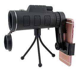 Caza de trípode online-Telescopio monocular 40X60 teléfono clip trípode HD visión nocturna prisma alcance para la caza de escalada pesca con brújula 10pcs en la venta por menor