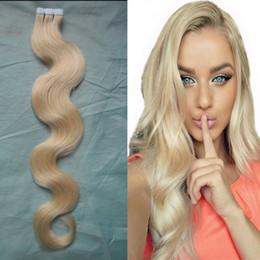 Wholesale Seamless Weft Extensions - 60 Bleach Blonde Brazilian Hair Skin Duck 2.5g pc Tape Hair extension Human Skin Weft Seamless Hair Extensions 40pcs 100g bag