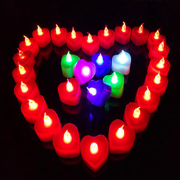Wholesale Green Led Tea Lights - Led Tea Candles Lamp Colorful shell Heart Valentines Candle Romantic red green blue colorful Light holiday decoration