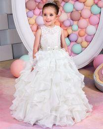 Wholesale White Fur Short Vest Kids - Lovely Princess Little Girls Formal Wear Gowns Flower Girl Dresses A Line Cap Short Sleeves Pearls Appliqued Kids Toddler First Communion