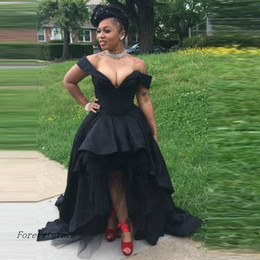 Wholesale Girls Holiday Dresses 12 - 2017 Dubai Sexy High Low Black Girls Prom Dress Cheap Off Shoulder Formal Holidays Wear Graduation Evening Party Gown Custom Made Plus Size