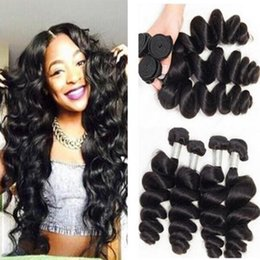Wholesale Machine Human Hair - Malaysian Human Hair Bundles Double weft Machine human virgin remy Weft 3 Pieces Virgin Loose Wave