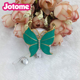 Wholesale Wholesale Costume Crystal Jewelry - 2017 New products Costume Jewelry Crystal Rhinestone Various Colors Enamel Buterfly Retractable Badge Reel  ID Badge Holder
