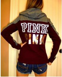 Wholesale Harajuku Sweatshirts - Fashion Pink Letter Bts Hoodie Women Casual Hip Hop Hoody Tops Pullover Streetwear Harajuku Tracksuit Brand Clothing Sweatshirt Dropship