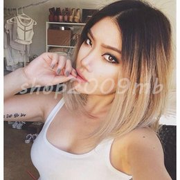 Wholesale Lace Front Heat Friendly Wigs - Freeshipping havana african american woman >>Ombre Blonde Lace Front Wig Long Straight Synthetic Wigs For Women Heat Friendly +cap