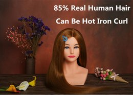 Wholesale Cosmetology Real Hair Heads - 22'' inche Hairdressing Dummy Doll Training Head higher quality Cosmetology Mannequin Head 85% Real Hair forhairdresser