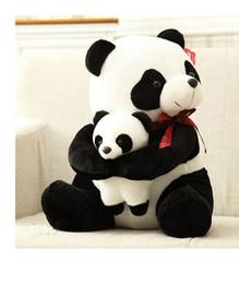 Wholesale panda birthday - 25cm small size mother and child panda Plush Toys cartoon bear stuffed plush animals doll birthday gift
