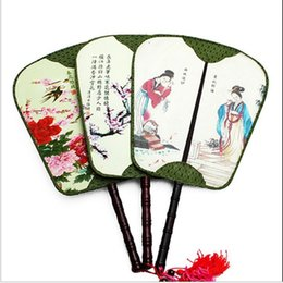 Wholesale Real Happy - Fine Double-side Real Silk Palace Handle Fan Tassel Vintage Chinese Dance Show Props Cloth Handicrafts Ladies Hand held Fans Unique Gift