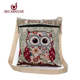 Wholesale Owl Crossbody Bags - Wholesale-Cartoon Owl Printed Canvas Crossbody Shoulder Bags Summer Women Messenger Bags Female Small Owl Design Crossbody Bag Casual Bags