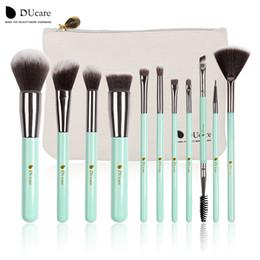 Wholesale Mint Brushes - Ducare 11pcs Makeup Brushes Kit Set Powder Foundation Eyeshadow Eyeliner Lip Brush Tool Mint Green Soft Synthetic Hair