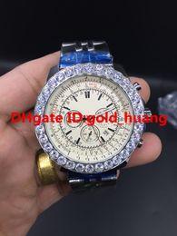 Wholesale 48mm Quartz - 2017 NEW 48mm BL Silver shell bezel diamond quartz man watch quartz Stainless steel men's watches 002