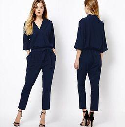 Wholesale Three Quarter Sleeve Jumpsuits - Wholesale- Chiffon Jumpsuit Women Three-Quarter Sleeves V-Neck 2017 New Fashion Royal Blue Jumpsuits Free Shipping