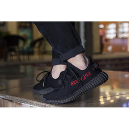 Wholesale Camp Kid - KANYE SHOES CP9652 350 BOOST V2 BLACK RED COLOR, NEW SPLY-350 MEN WOMEN SHOES TRUE BOOST WITH BOX KIDS 350V2 FOOTWEAR SIZE12