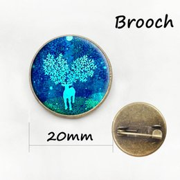 Wholesale Heart Medal - Christmas Day Winter deer brooches pins jewelry for men and women gift for baby Glass cabochon dome medal