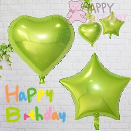 Wholesale cute happy birthday - 50pcs 18'' Cute Yellowish green color Heart & Five-point Star shape foil balloons happy birthday party decoration room supplier
