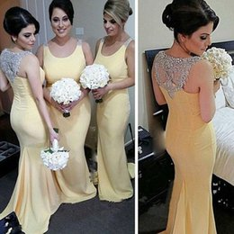 Wholesale Custome Made Sexy Wedding Dresses - SOLOVEDRESS Scoop Neck Mermaid Homecoming Dress 2017 Wedding Guest Dress Bridesmaid Prom Gowns Sexy Back Custome Made 214