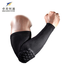 Wholesale Flexible Knee Pads - Wholesale- 1PC Gym Crashproof Arm Sleeves Basketball Shooting Support Elbow Protector Pads Cycling Flexible Compression Armguards