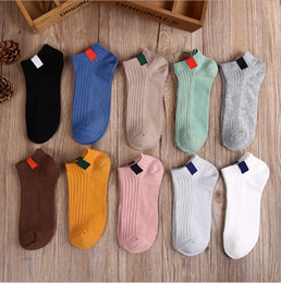 Wholesale Wholesale Red Striped Socks - 10 colors Men or Women short socks cotton casual breathable sports Mesh short boat socks for Male and female couple
