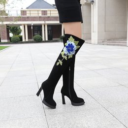 Wholesale Genuine Leather Wear - 2017 winter new Genuine Leather boots chrysanthemum embroidery elegant fashion breathable tendon rubber sole wear-resistant anti-skid