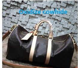 Wholesale Vintage Duffle Bags - Top quality Men Travel Bag Women Duffle Bags Luggage cowhide oxidize leather vintage keep ALL 55 cm Handbags with lock and key #41414