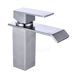 Wholesale bathroom nickel - 304 Stainless Steel Bathroom Sink Faucets Waterfall Spout Nickel Brushed Single Handle Hole Hot Cold Mixer Deck Mount Basin Taps SSMP005