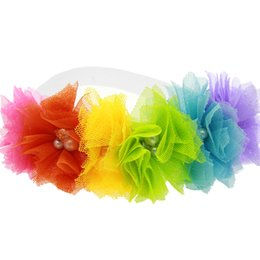 Wholesale Elastic Rainbow Headbands - Wholesale- Baby Girl Flowers Headband Lace Pearl Hairband Elastic Turban Rainbow Hair Accessories Headdress Headwear Tiara 2016