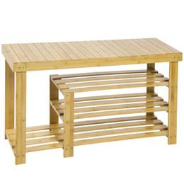 Wholesale Organizer Bamboo - 100% Natural Bamboo Shoe Bench Hallway Shoe Storage Shelf Boot Rack Organizer