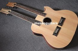 Wholesale Semi Acoustic Electric Guitars - 6 12 String Acoustic Electric Double Neck Guitar with EQ and Bag