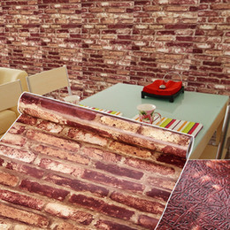 Wholesale Furniture Wall Decor - Wholesale- Embossed Brick Stone Wall Papers Home Decor 3D Vintage Modern Wall Mural Furniture Wallpaper Rolls For Living Room Wall Covering