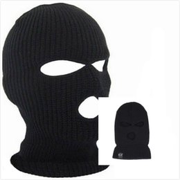 Wholesale Face Golf - Designer Winter Balaclava For Mens Womens Cycling Skiing Full Face Mask Three 3 Hole Covering Caps Knit Acrylic Adults Man Sport Beanie Hat